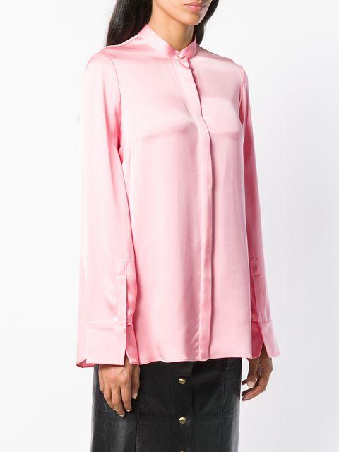 03645c3d4043 Alexander Mcqueen - Silk Satin Long Sleeve Blouse - Womens - Pink ...