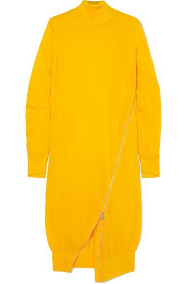 5d545c9343dc Sacai Zip-Detailed Wool Turtleneck Midi Dress In Bright Yellow ...