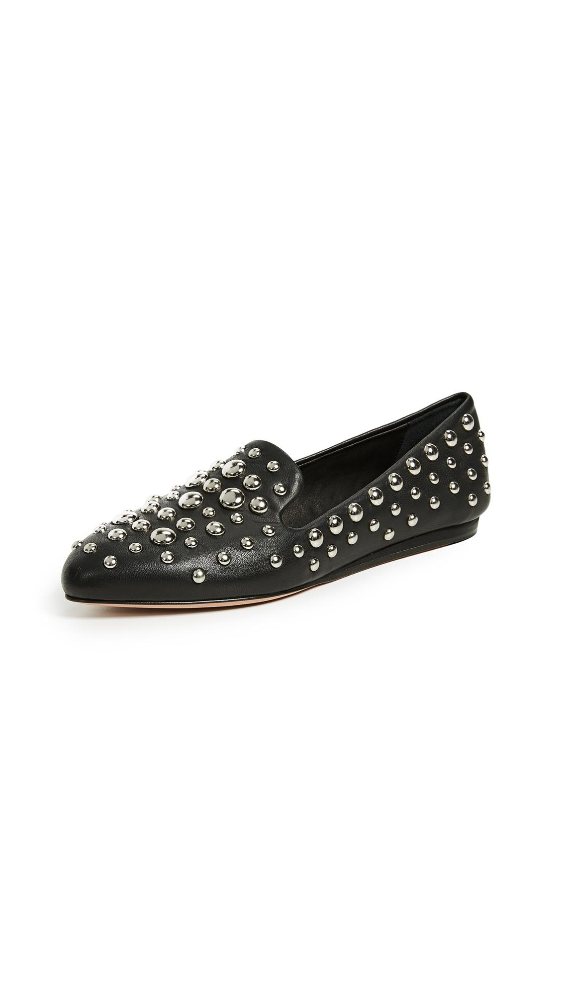 fce9a98cde9 Veronica Beard Griffin Studded Napa Loafers In Black Silver