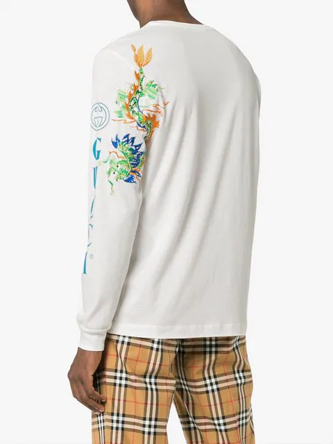 3df3fe7e504b Gucci Dragon-Embroidered Cotton Long-Sleeve Tee In Neutrals | ModeSens