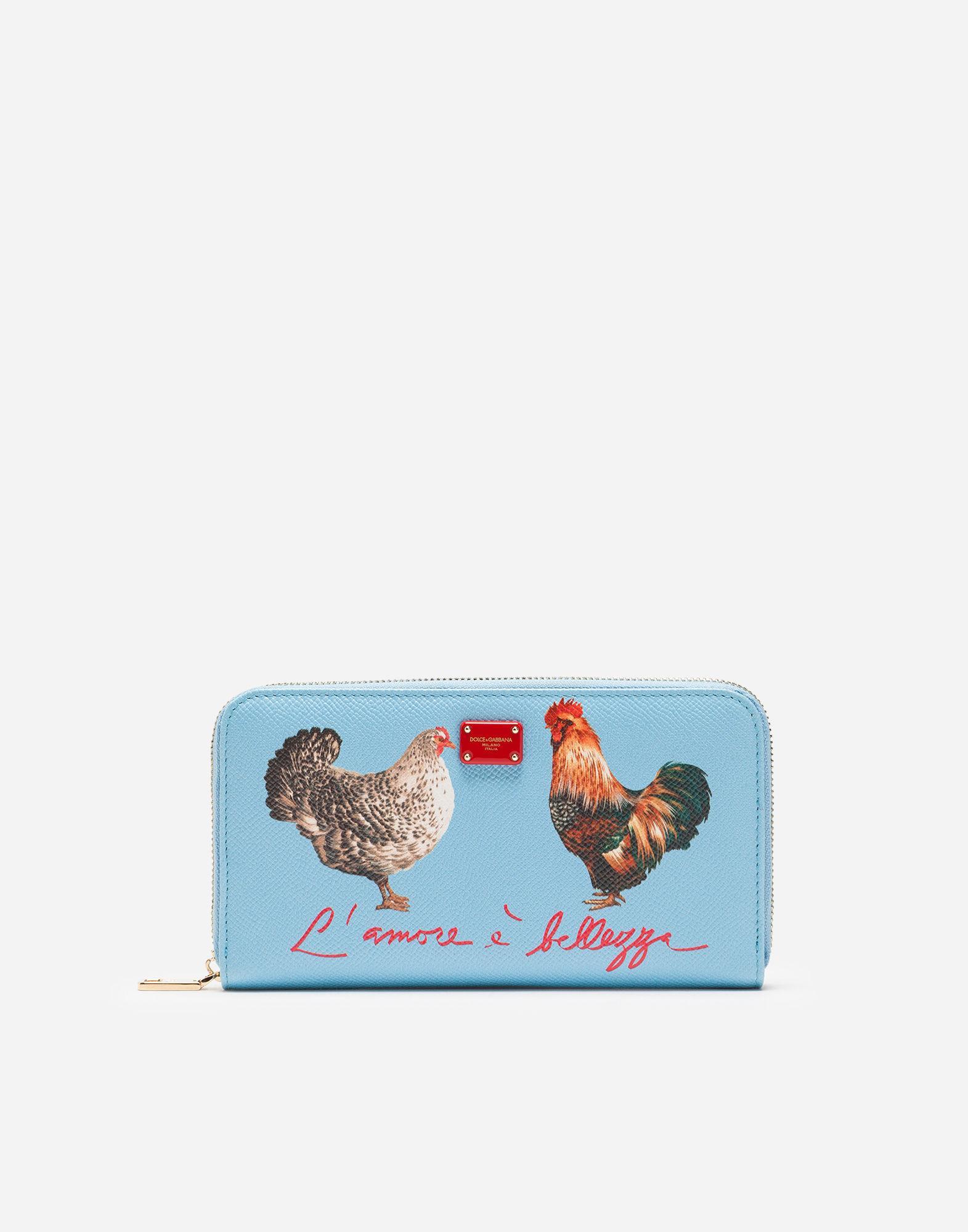 10b2207cd1 Dolce & Gabbana Zip-Around Wallet In Printed Dauphine Calfskin In Azure