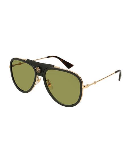 dddfea153608a Gucci Web Block 57Mm Leather Aviator Sunglasses - Gold  Dark Havana ...