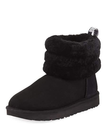 551842c4458 Women's Fluff Mini Quilted Round Toe Suede & Sheepskin Booties in Black