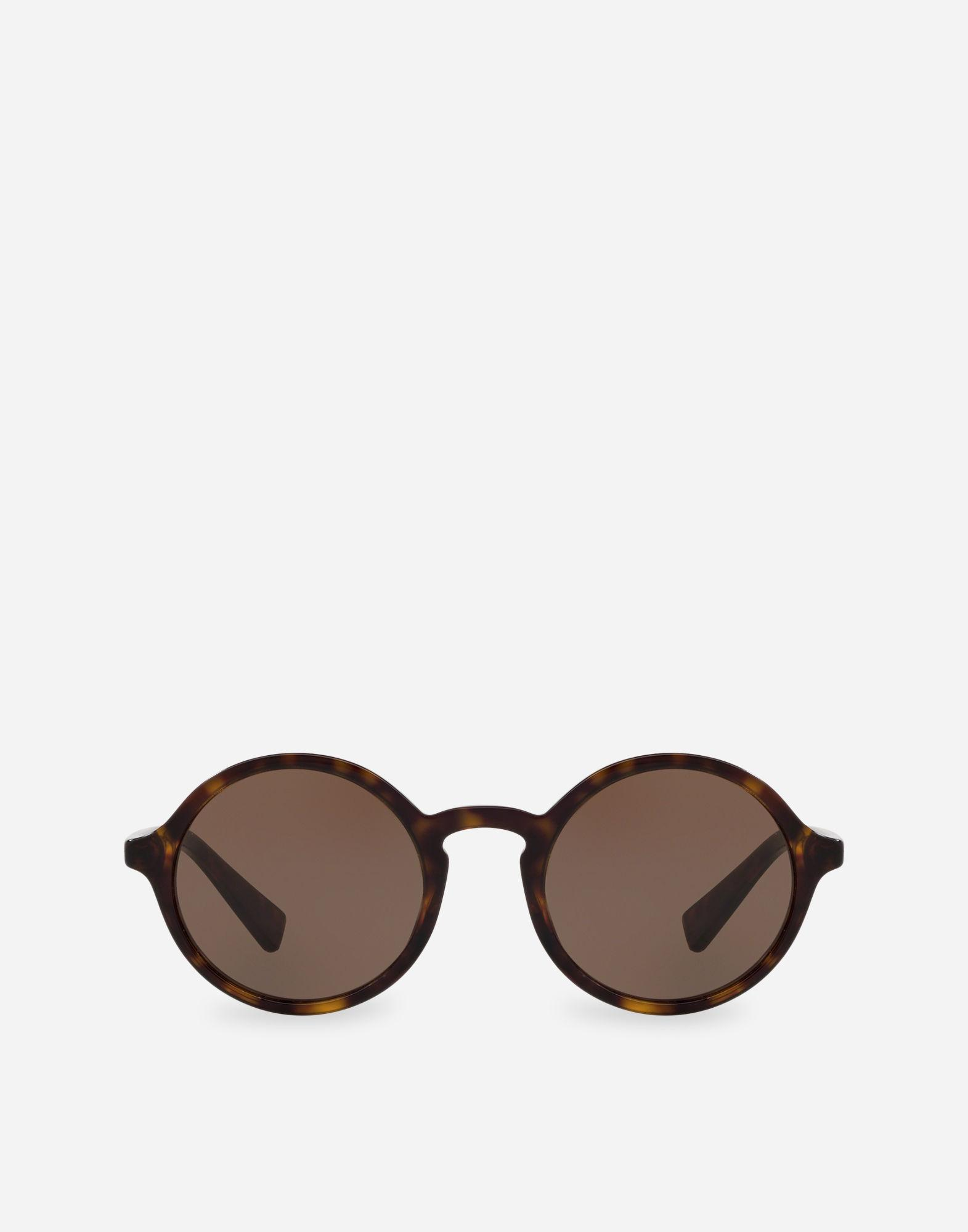 ecbc82a1da18 Dolce   Gabbana Round Acetate Sunglasses With Keyhole Bridge In Havana