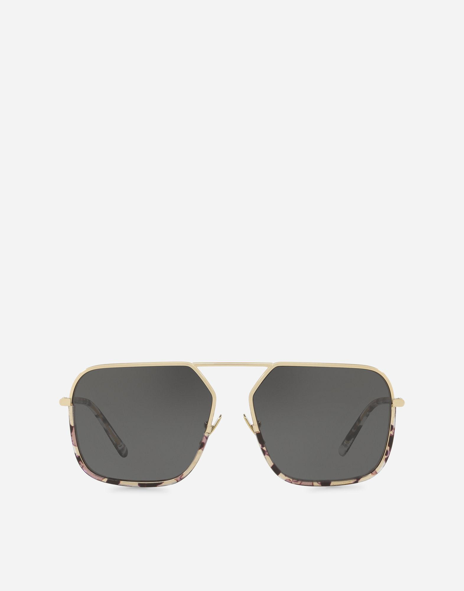 9769627643a Dolce   Gabbana Rectangular Sunglasses With Metal Bridge In Light Glossy  Gold With Havana Black And