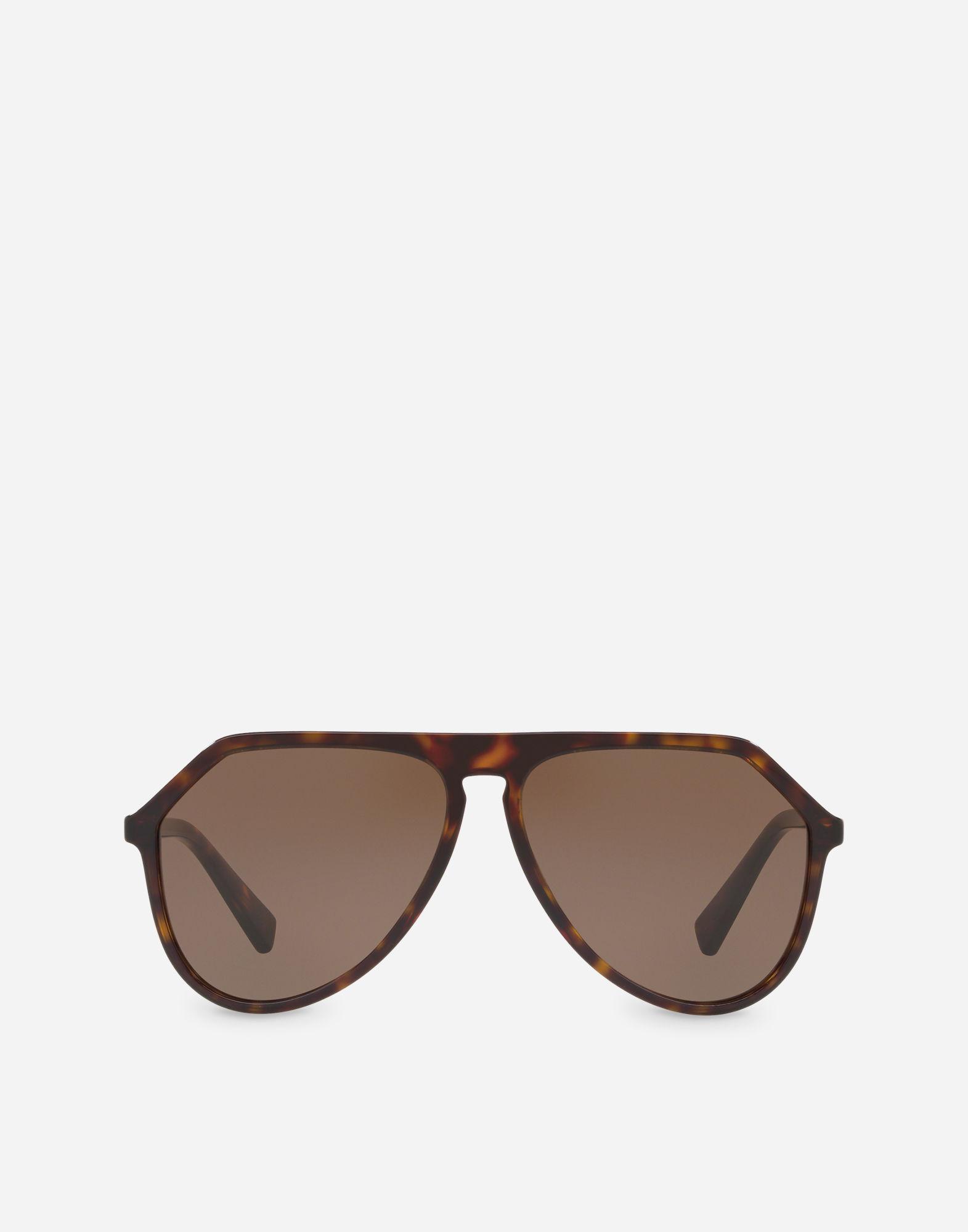 e4343ac1a12 Dolce   Gabbana Pilot Acetate Sunglasses With Keyhole Bridge In Havana