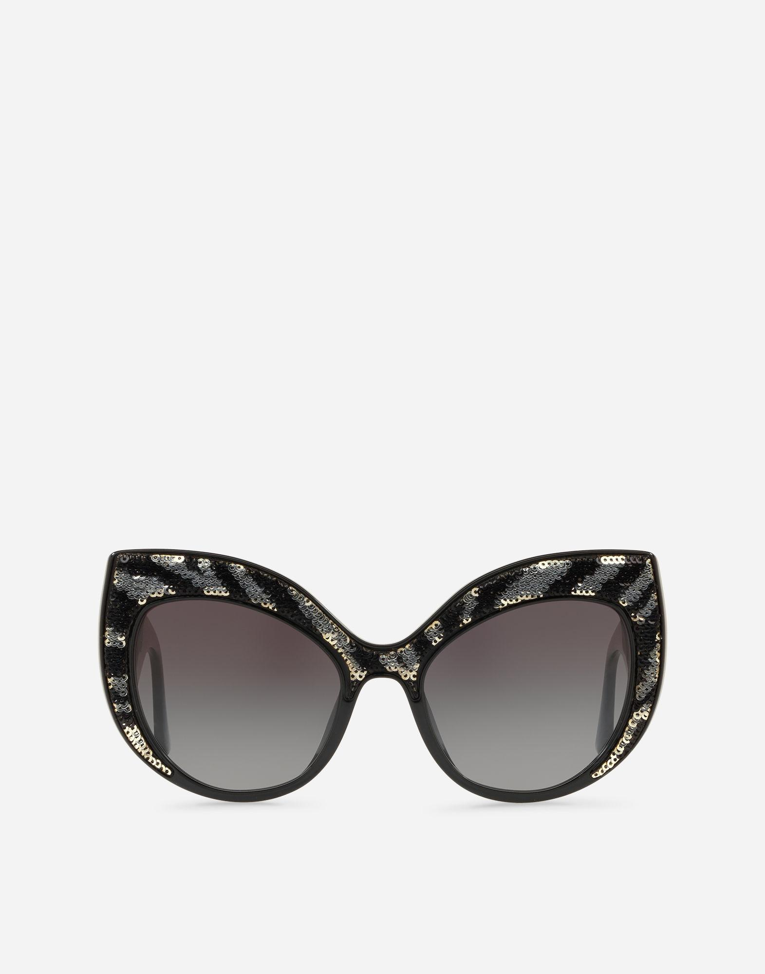 9e9a281bc2d Dolce   Gabbana Oversize Cat-Eye Sunglasses In Acetate With Sequins In Black  With Shiny