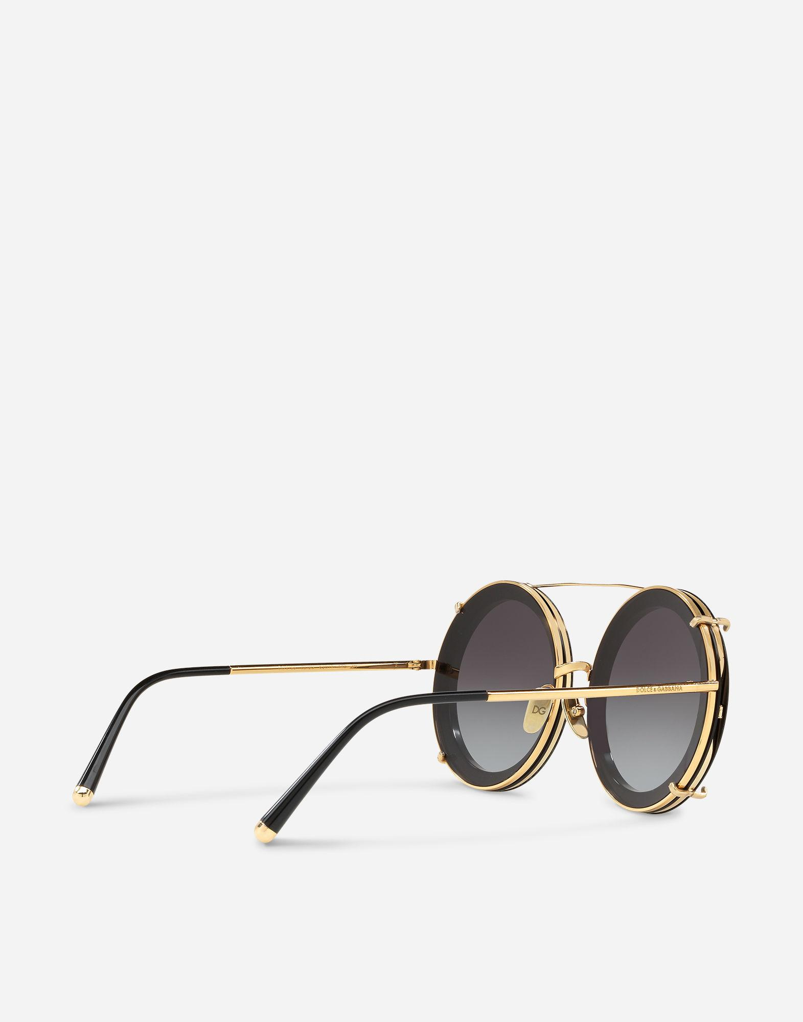 2d322281ede Dolce   Gabbana Round Clip-On Sunglasses In Gold Metal With Graffiti Print