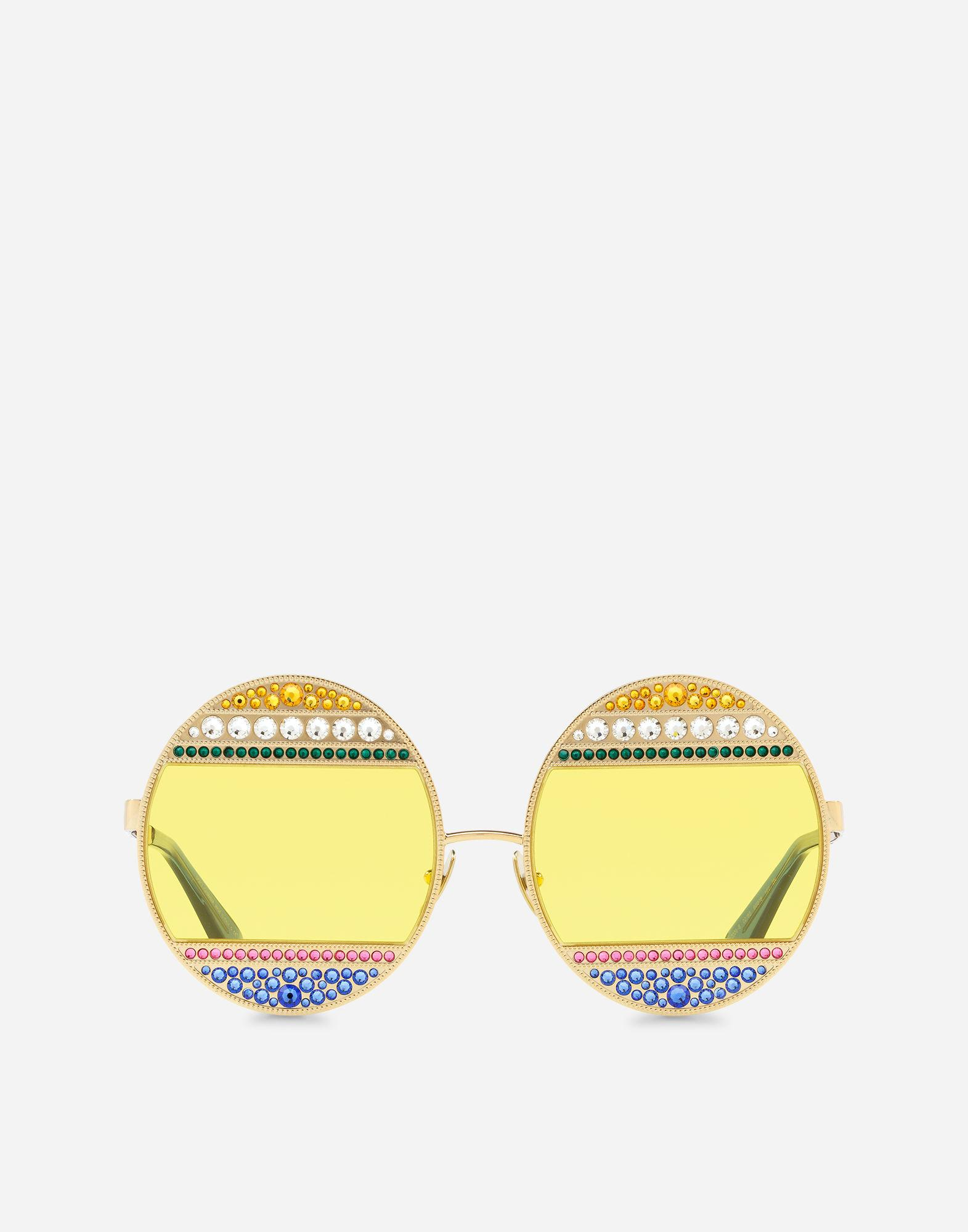 28675472cb1c Dolce   Gabbana Oval Metal Sunglasses With Crystals In Shiny Gold    Multicolor