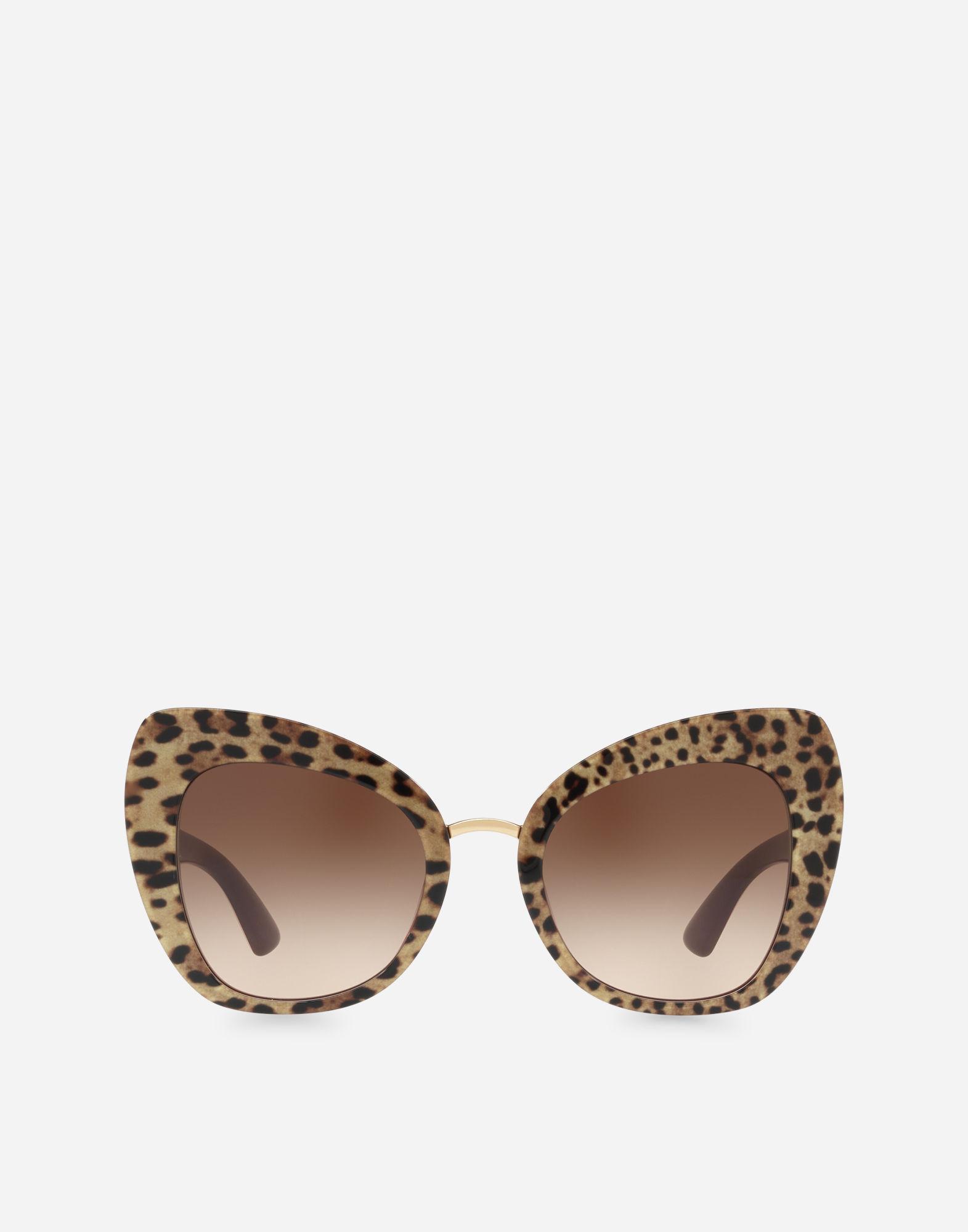 07bbc57ffc807 Dolce   Gabbana Butterfly Sunglasses In Leopard Print Acetate In Leopard  Print On Bordeaux Base