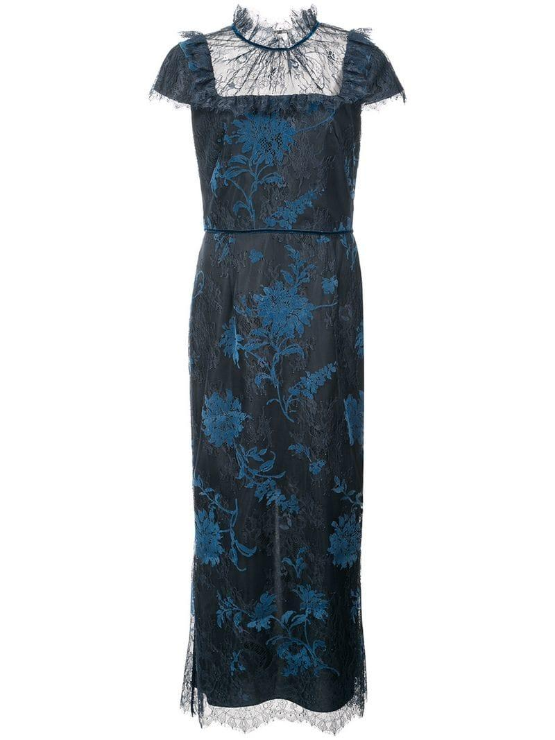 23d2417b95d Marchesa Notte Cap Sleeve Floral Dress - Blue