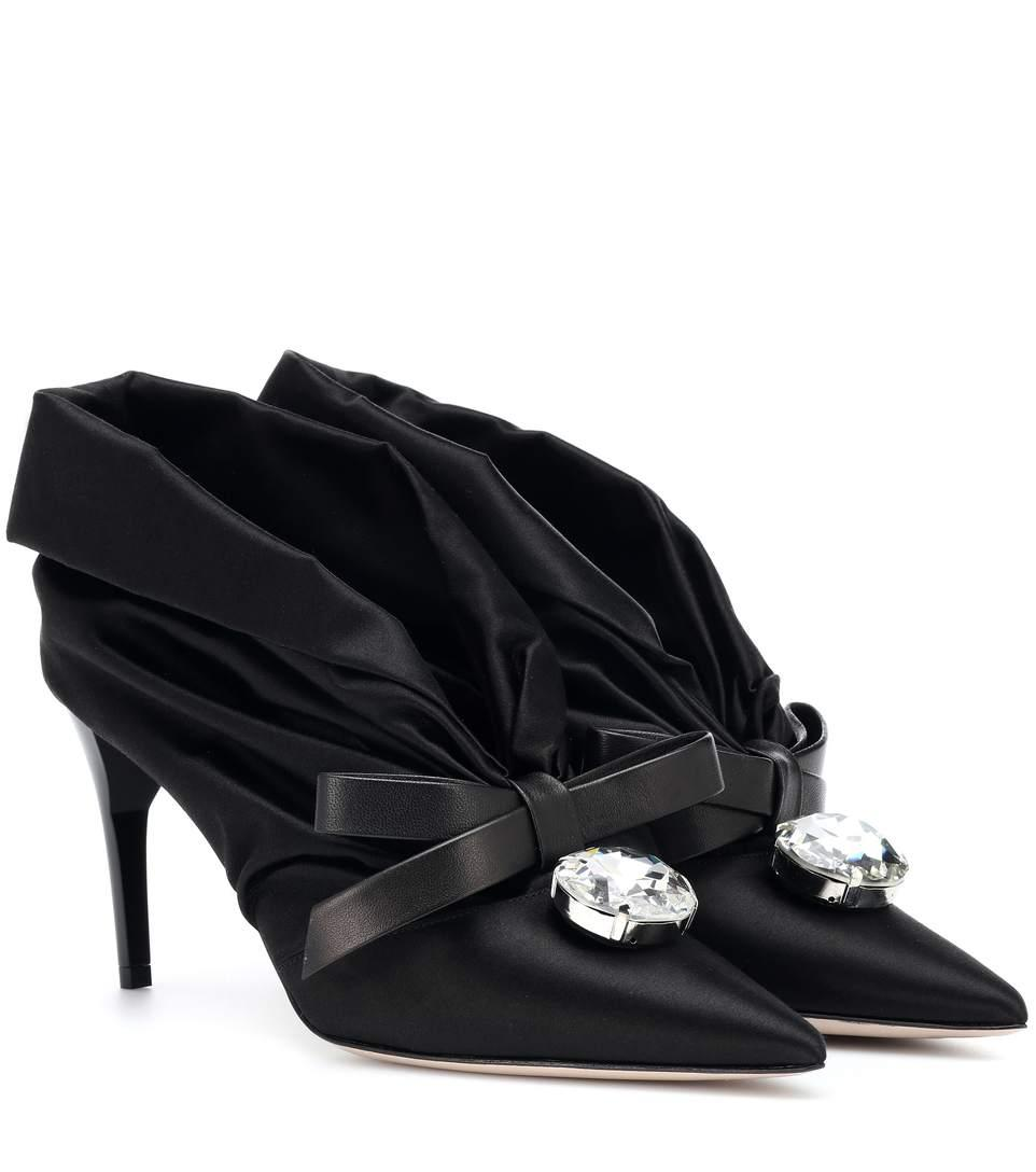 a980c24d66 Miu Miu Embellished Satin Pumps In Black | ModeSens