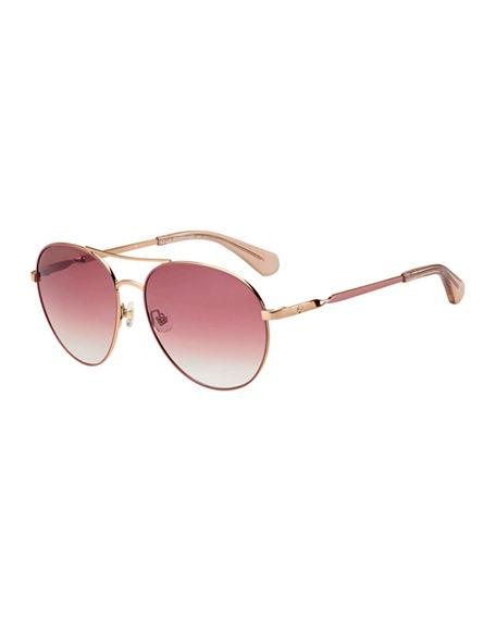 0d19b2ac2b Kate Spade Joshelle 60Mm Aviator Sunglasses - Pink Polarized