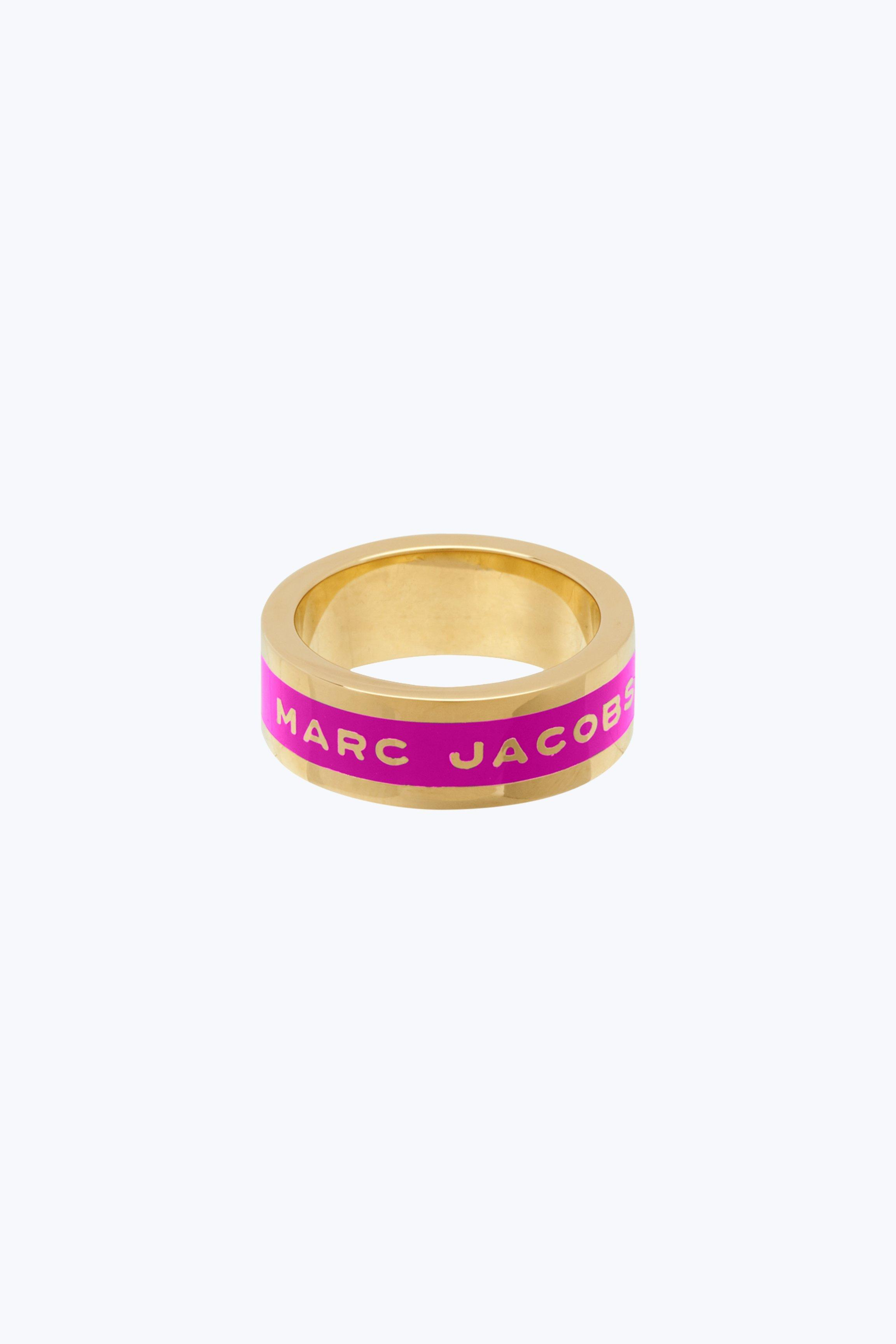 marc jacobs logo disc band ring in neon pink modesens modesens