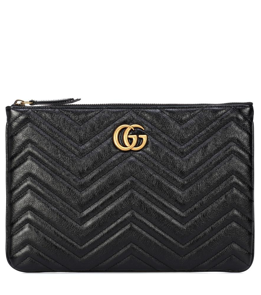 Gucci Gg Marmont Quilted Leather Clutch In Black