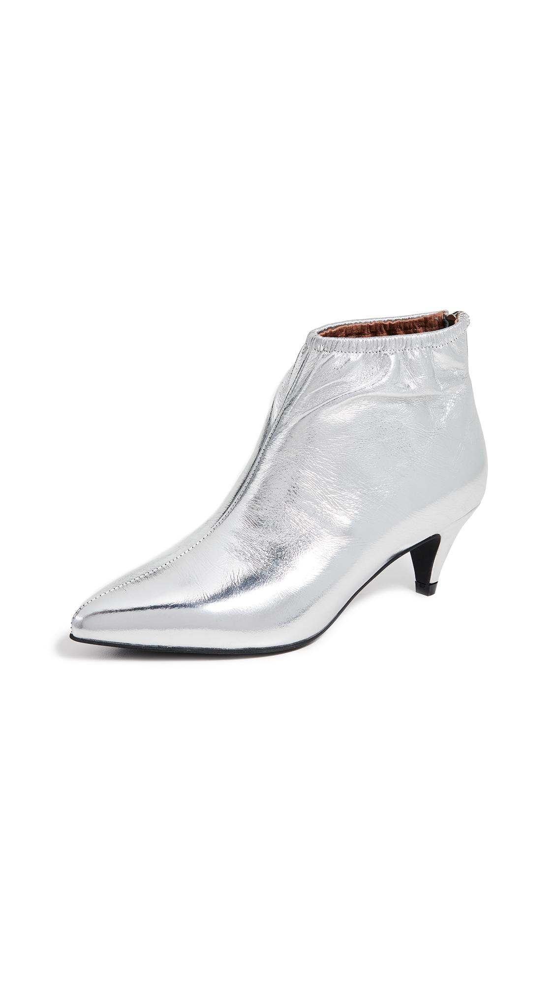 80cdc6bb2af Jeffrey Campbell Zosia Low Heel Booties In Silver