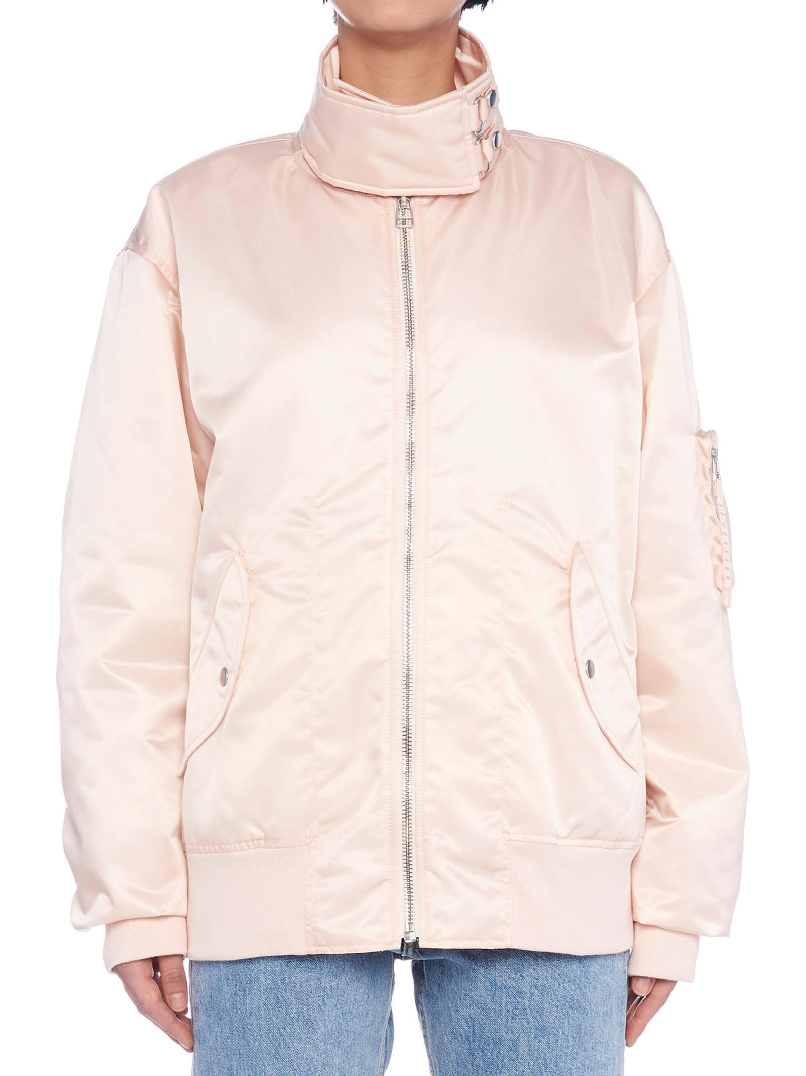 6fe61177e Oversized-Collar Bomber Jacket - Pink