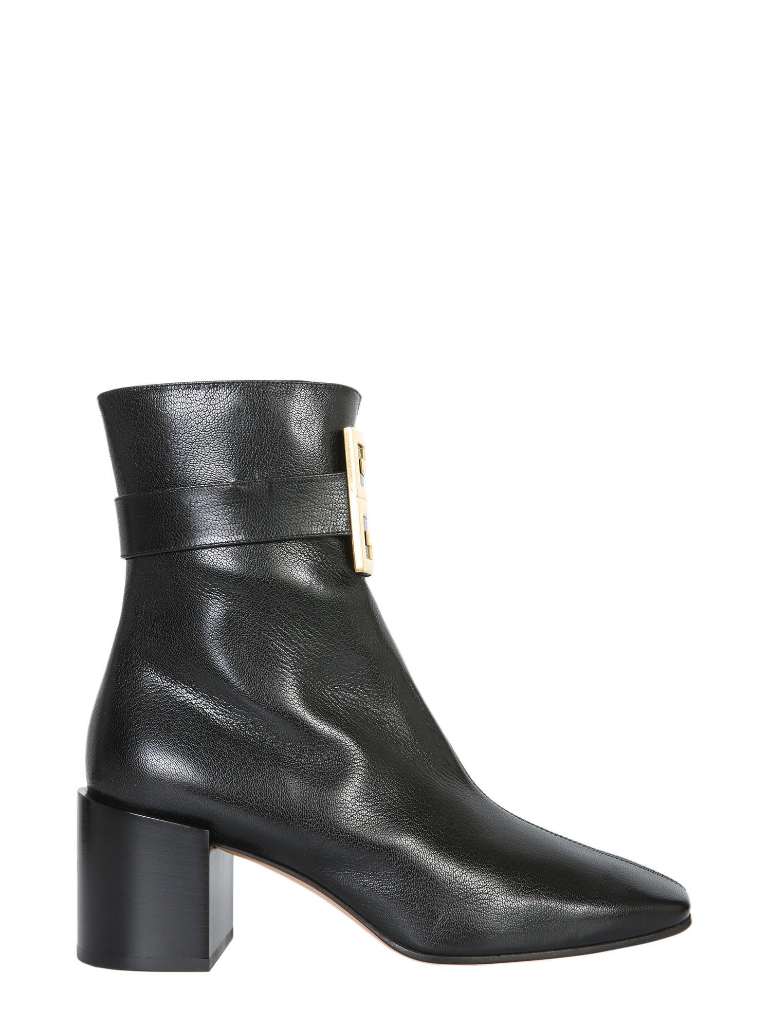 Givenchy Stiefeletten 4G Ankle  Kalbsleder  Logo Metallisch Schwarz In Black