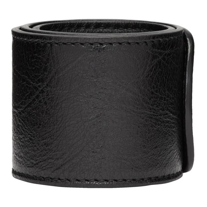 Cycle Leather Wrap Bracelet Black In 1110