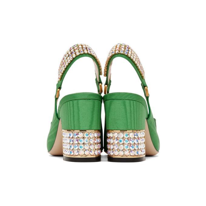 ed0cb6eb2d Gucci Women's Madelyn Silk Satin & Crystal G Mid Heel Pumps In Green ...