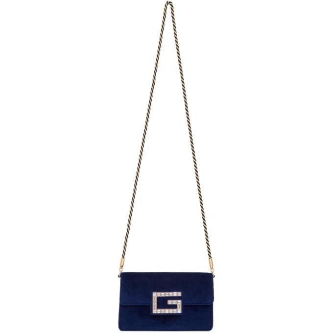 2f894b1ef317 Gucci Broadway Small Velvet Shoulder Bag With Square G In 4571 Cobalt