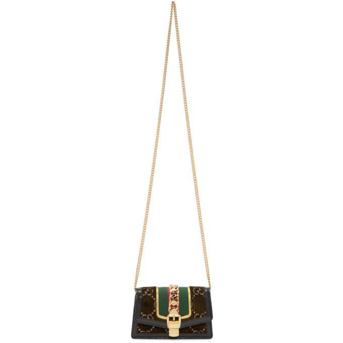 2da24c459df7 Gucci Brown Super Mini Velvet Gg Sylvie Chain Bag In 2067 Brown. SSENSE