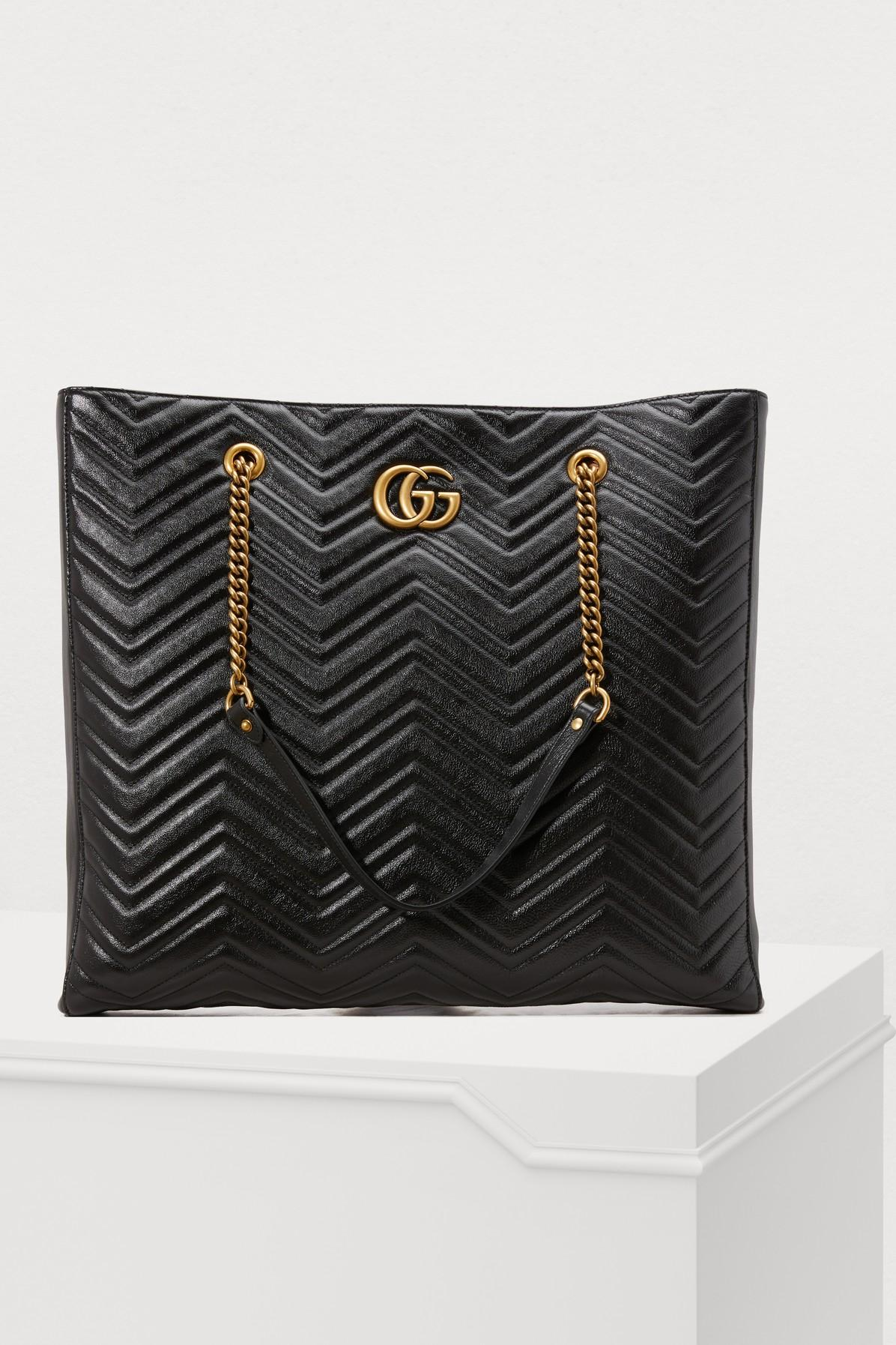 b5b89ae803d Gucci Gg Marmont Large Leather Tote In 1000 Black