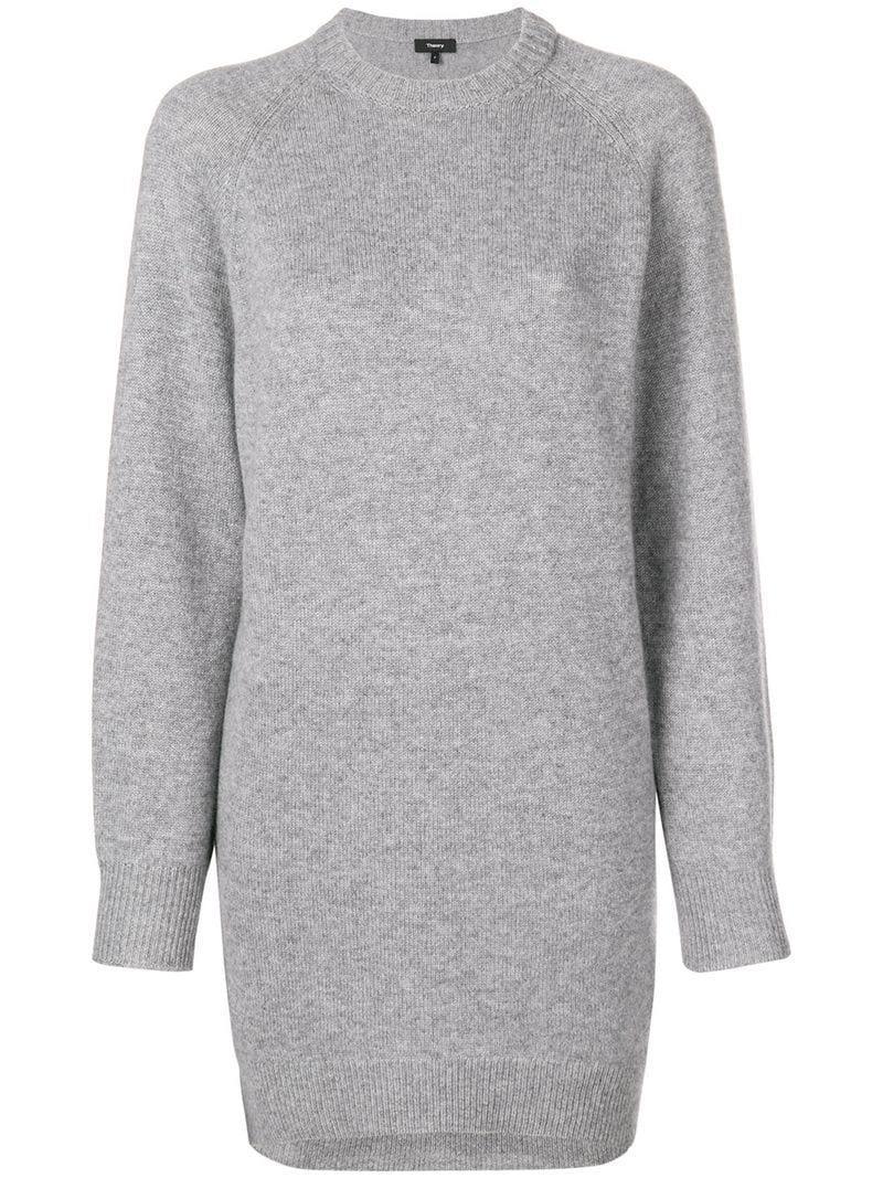 60b5d84a7890 Theory Fine Knit Crewneck Sweater Dress - Grey | ModeSens