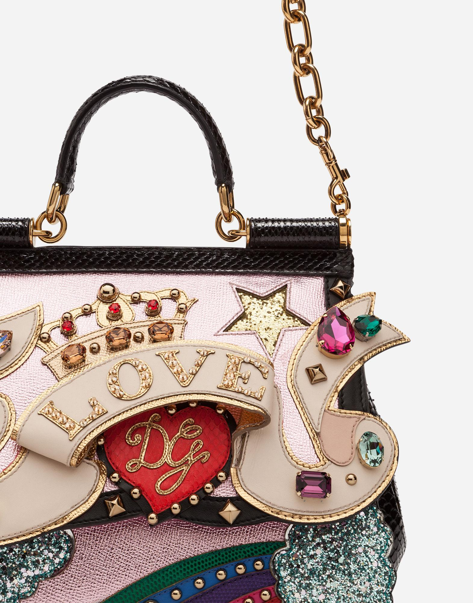 6f31b48d1cc9 Dolce   Gabbana Medium Sicily Bag In A Mix Of Materials With 3D Patch And  Embroideries