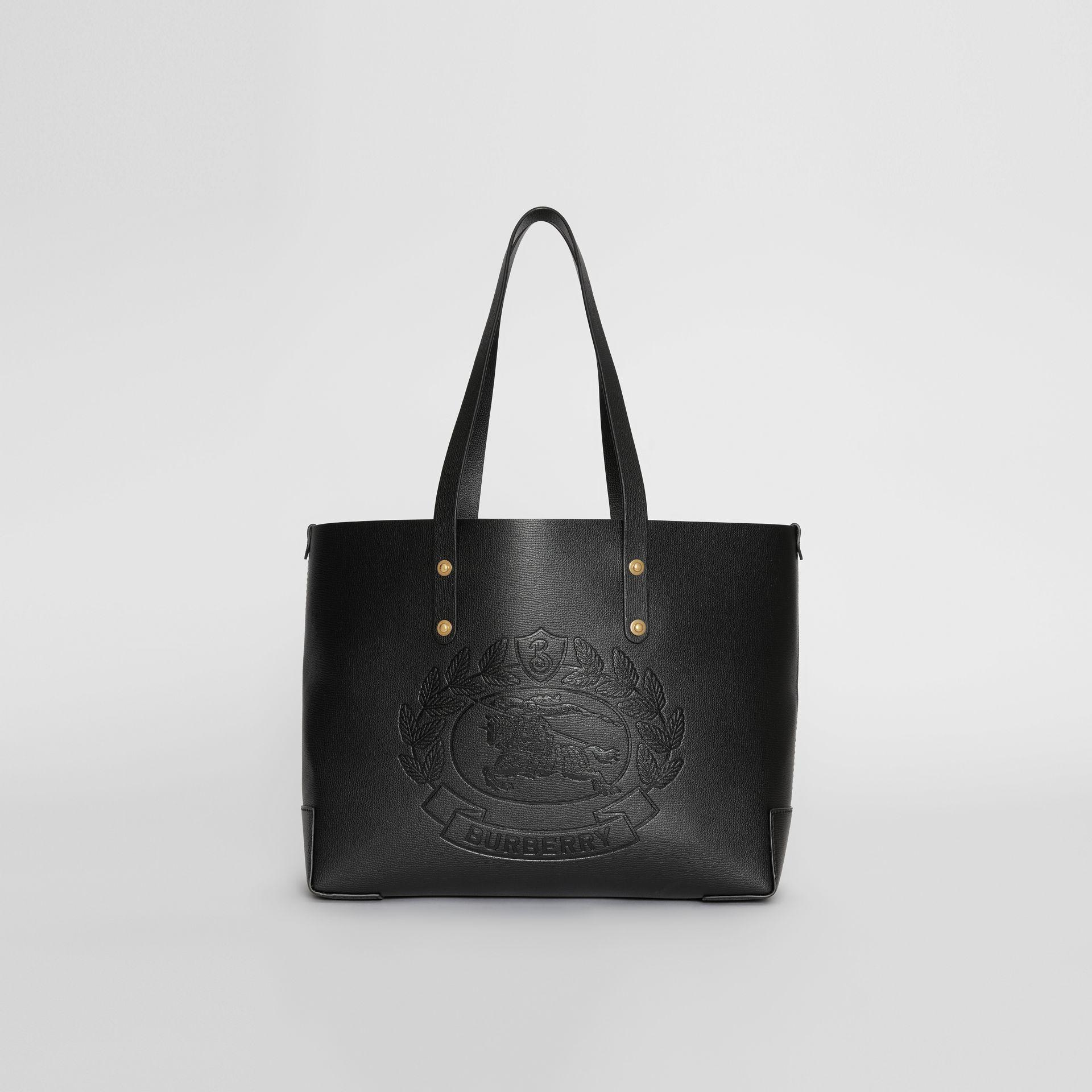 5d3a2188779a Burberry Small Embossed Crest Leather Tote In Black