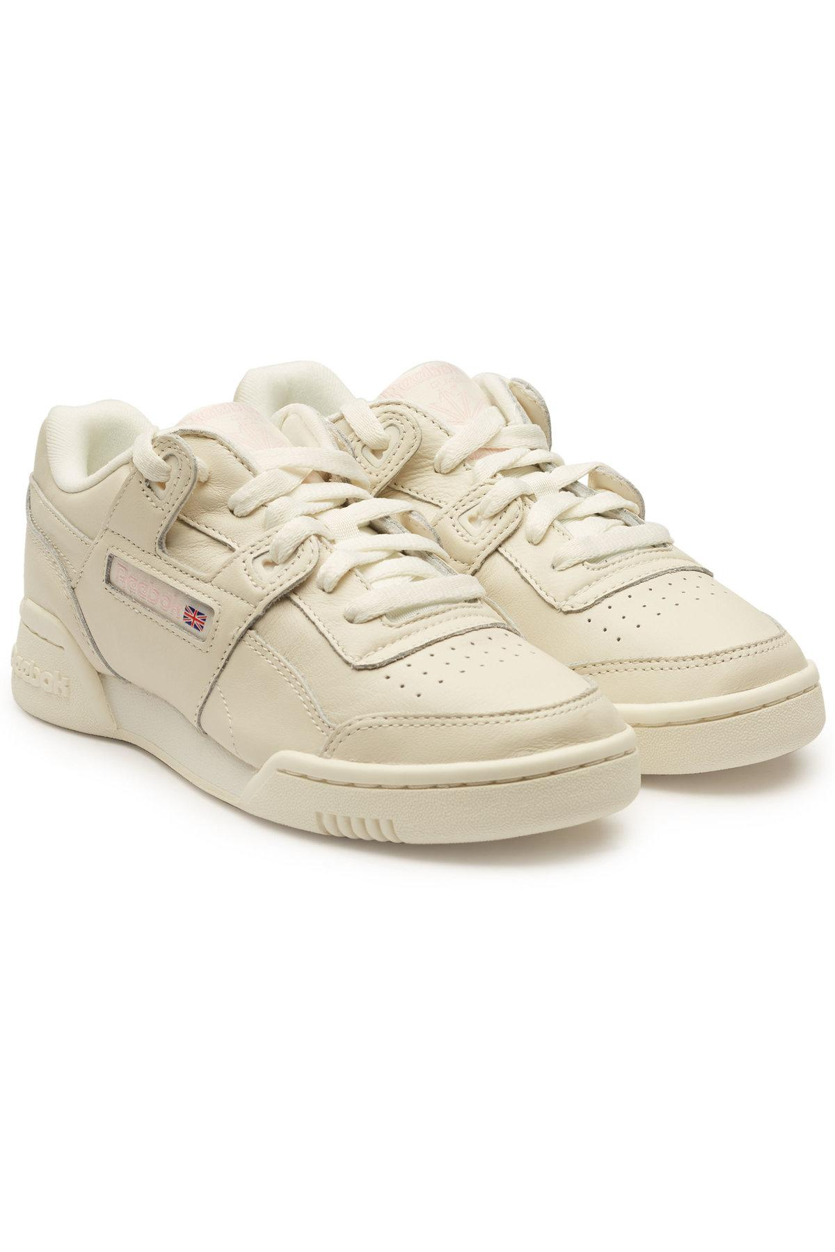 aaa2bf60171 Reebok Workout Lo Plus Leather Sneakers In White