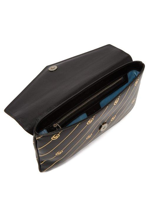 24ff6cb2fb5 Gucci Broadway Gg Archive-P Leather Envelope Clutch In Black