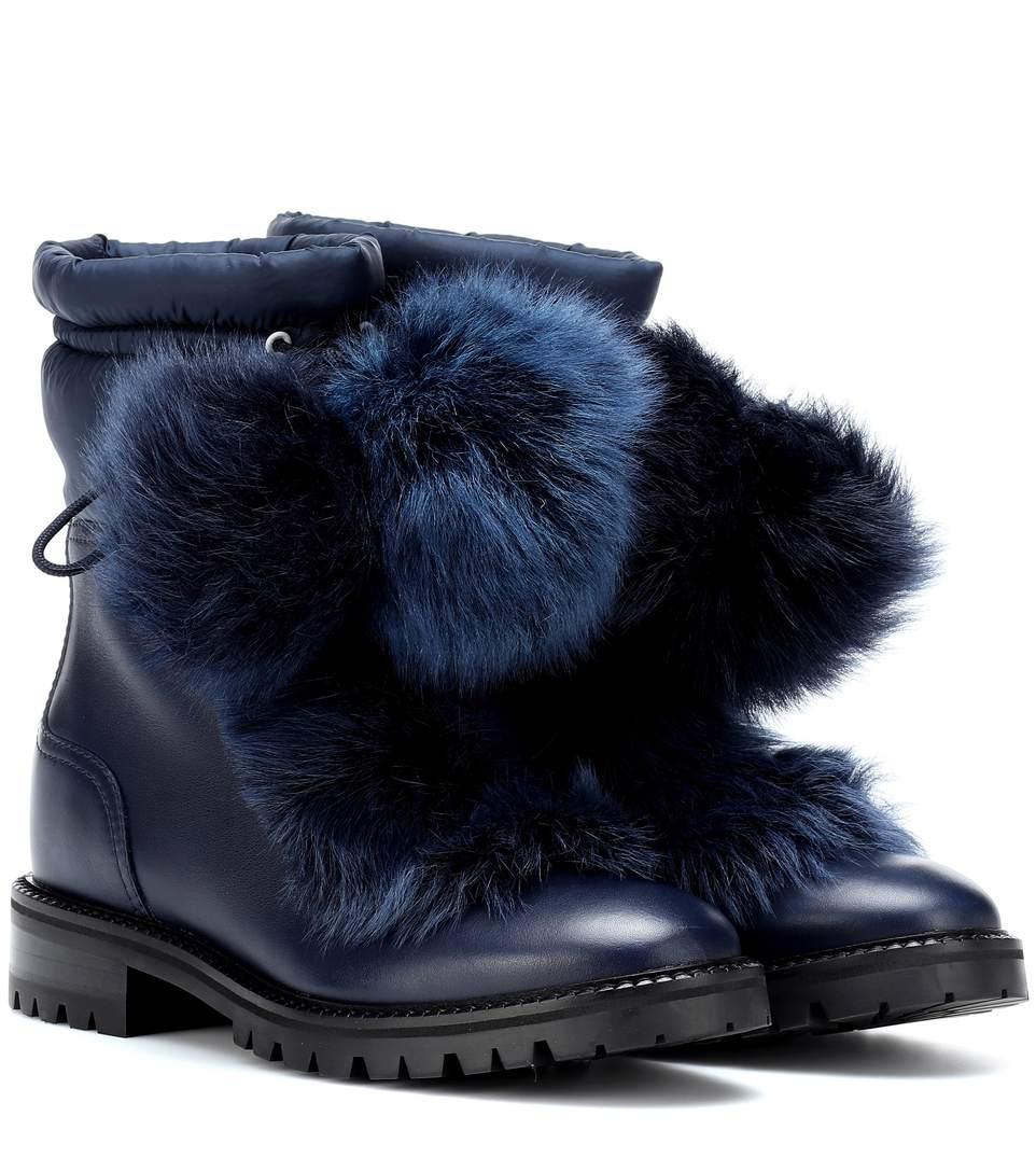 cfe28914534 Jimmy Choo Glacie Leather And Fur Boots In Blue   ModeSens