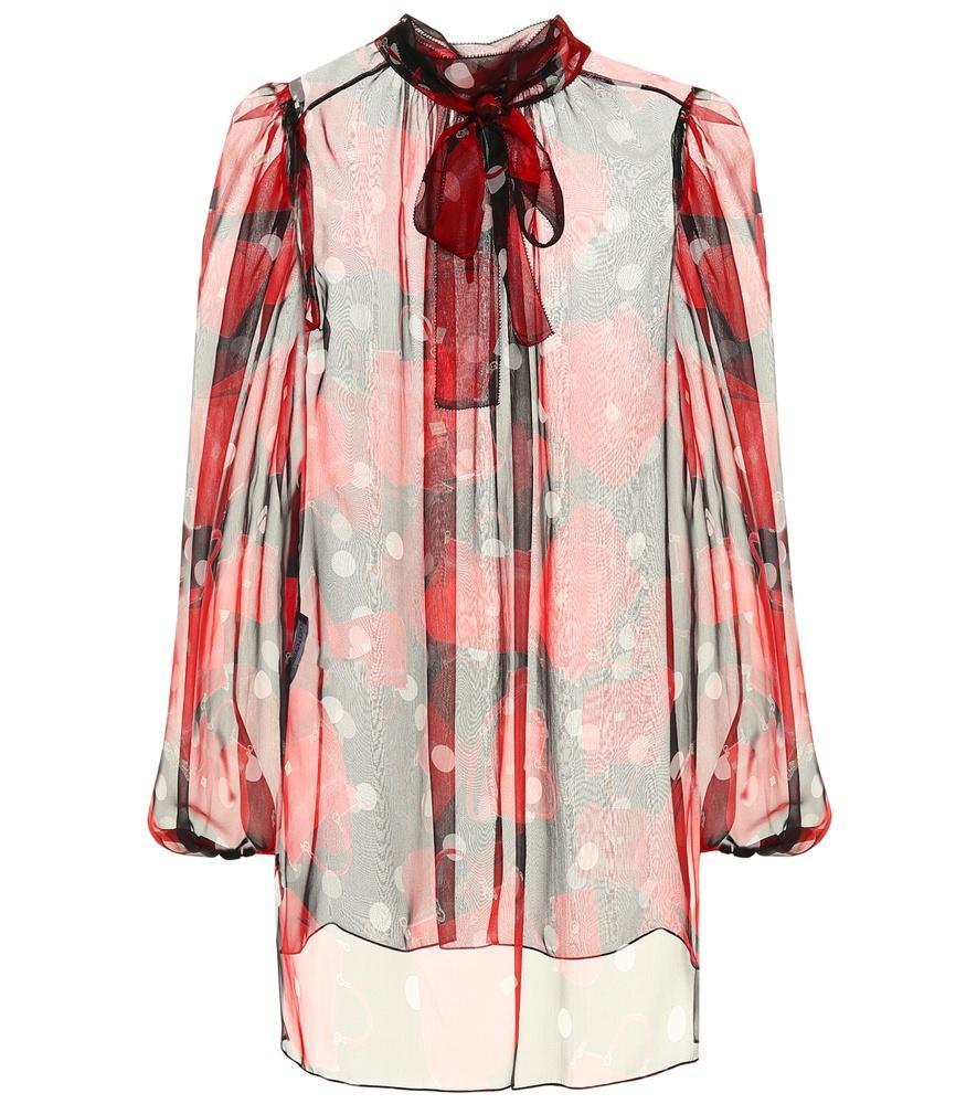 e57a4e65239c6d Dolce   Gabbana Handbag Silk Pussybow Blouse In Red
