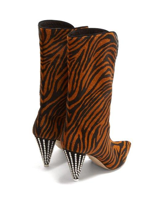 0bd7c28a14c Betta Crystal-Embellished Tiger-Print Calf Hair Knee Boots in Brown