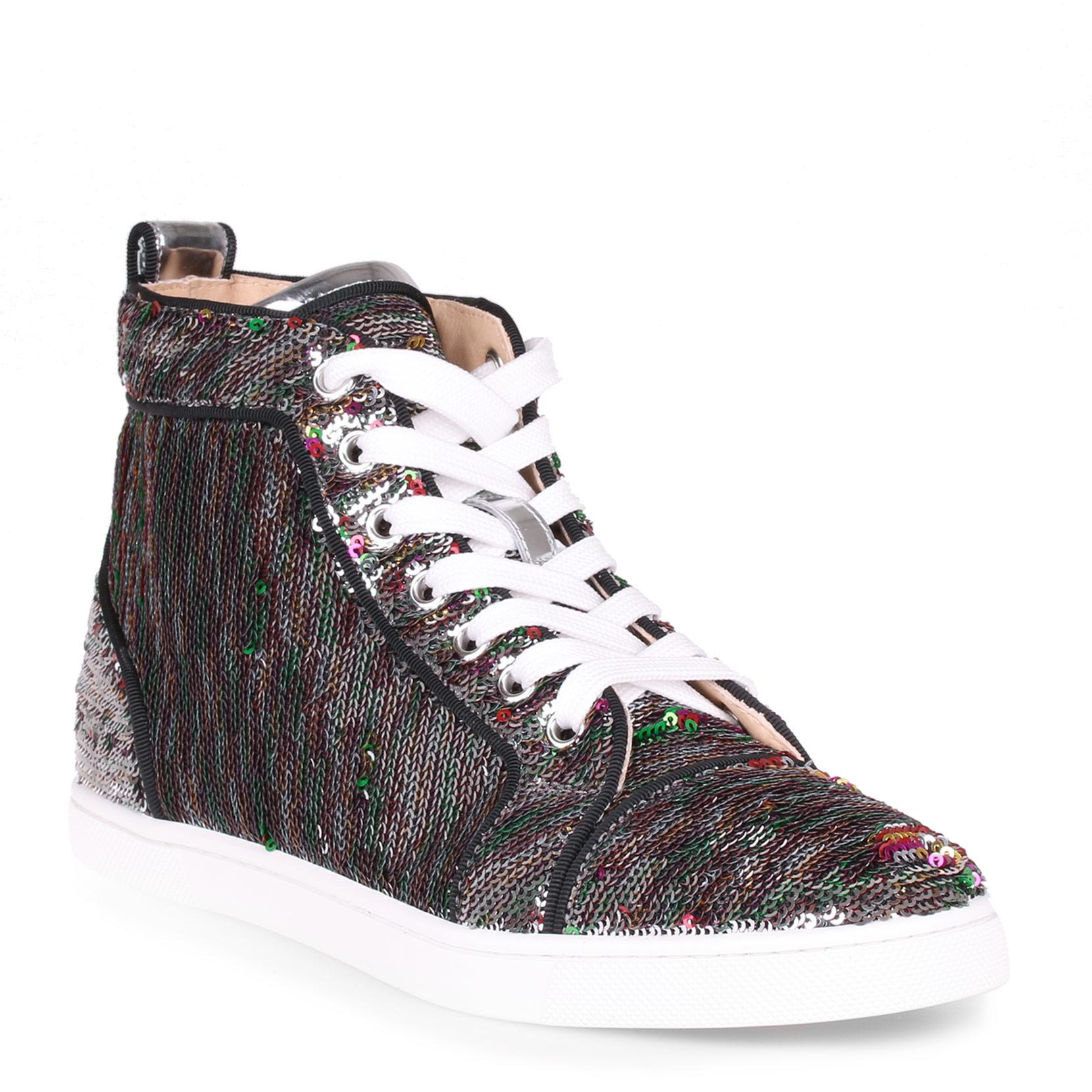 7cbcbb6e6293 Christian Louboutin Bip Bip Silver Sequin Sneaker In Grey