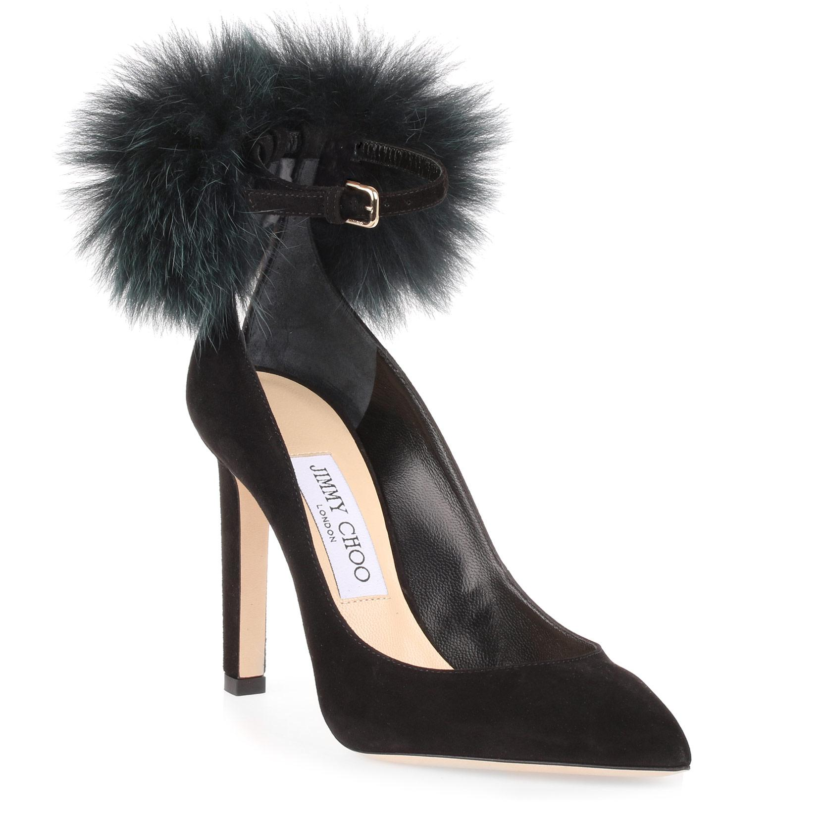 bcf9eb533cd9 Jimmy Choo South 100 Black Suede Pom-Pom Pump. Savannahs