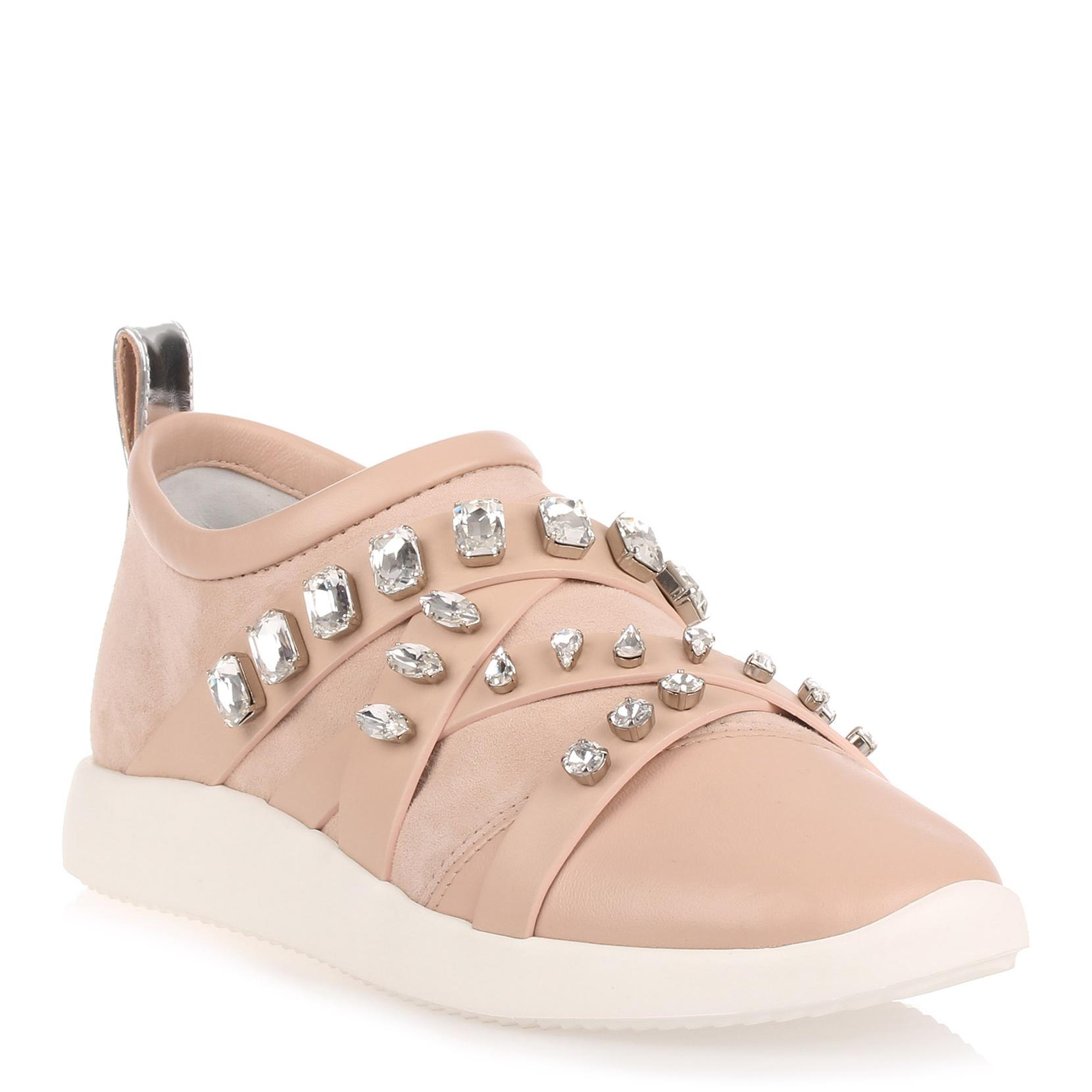 0d362a992c1e Giuseppe Zanotti Blush Suede And Nappa Leather Sneaker In Pink ...