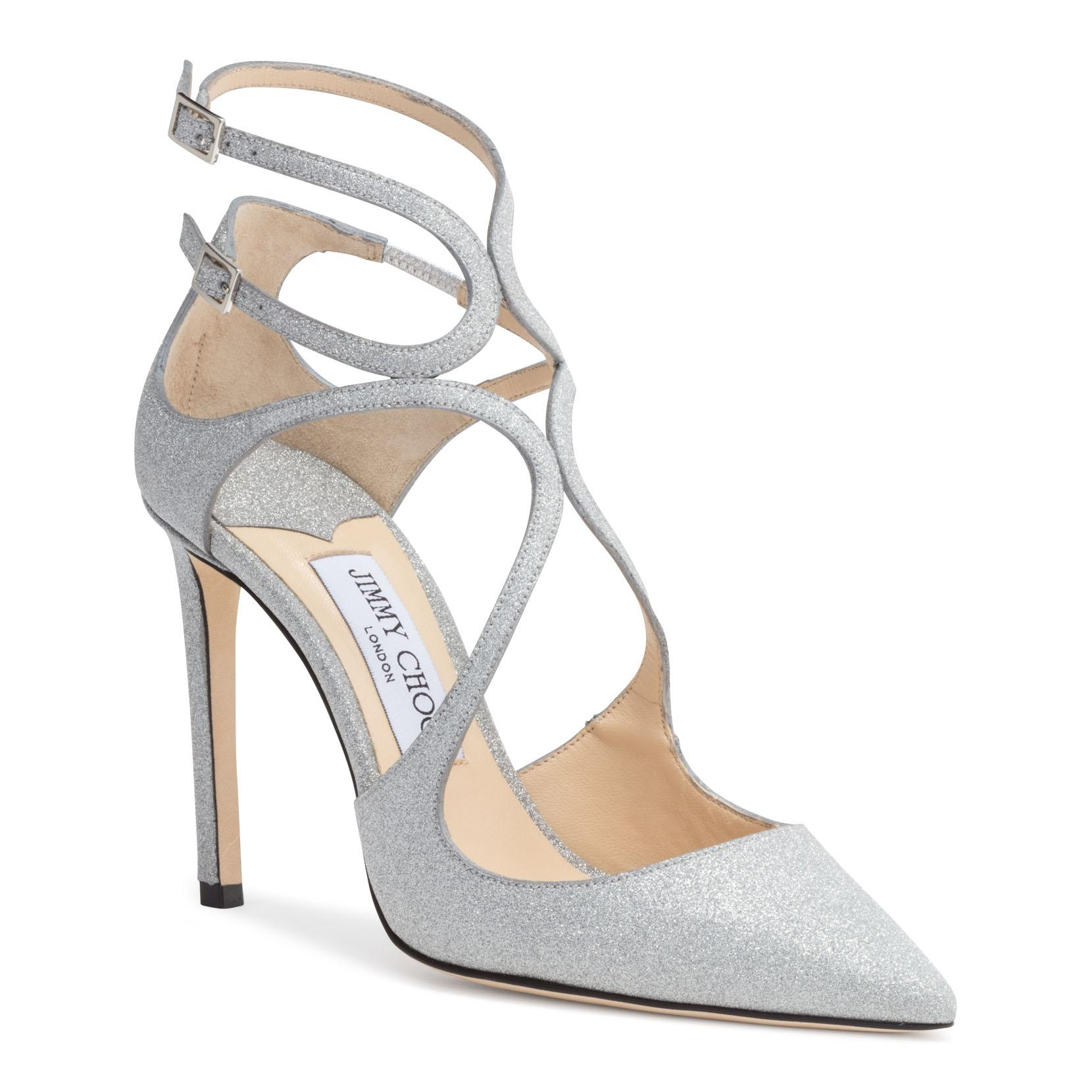 801a5ffe1a74 Jimmy Choo Lancer 100 Silver Glitter Pumps In Metallic. Savannahs