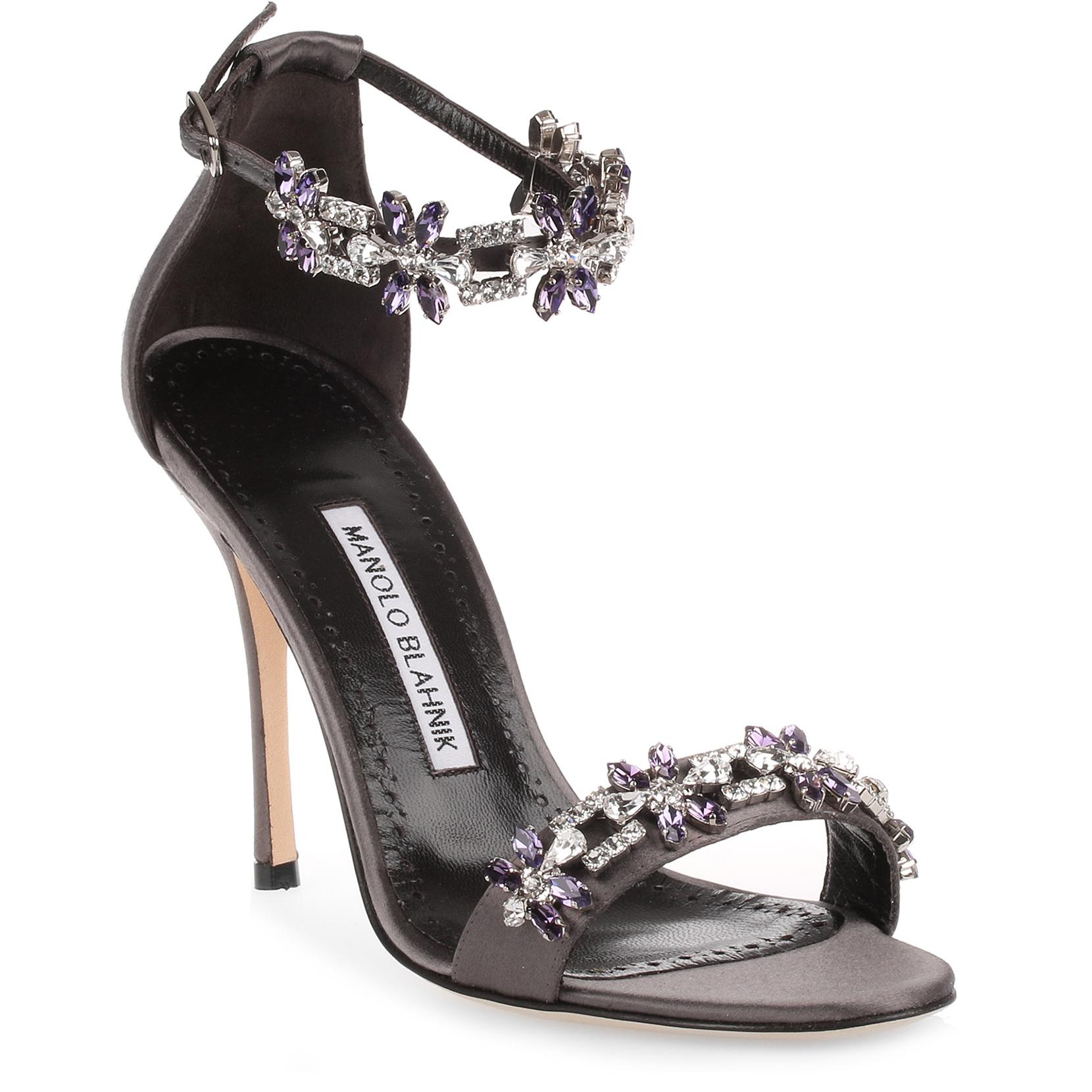2863ce0a195 Manolo Blahnik Firaduo 105 Crystal-Embellished Satin Ankle-Strap Sandals In  Gray