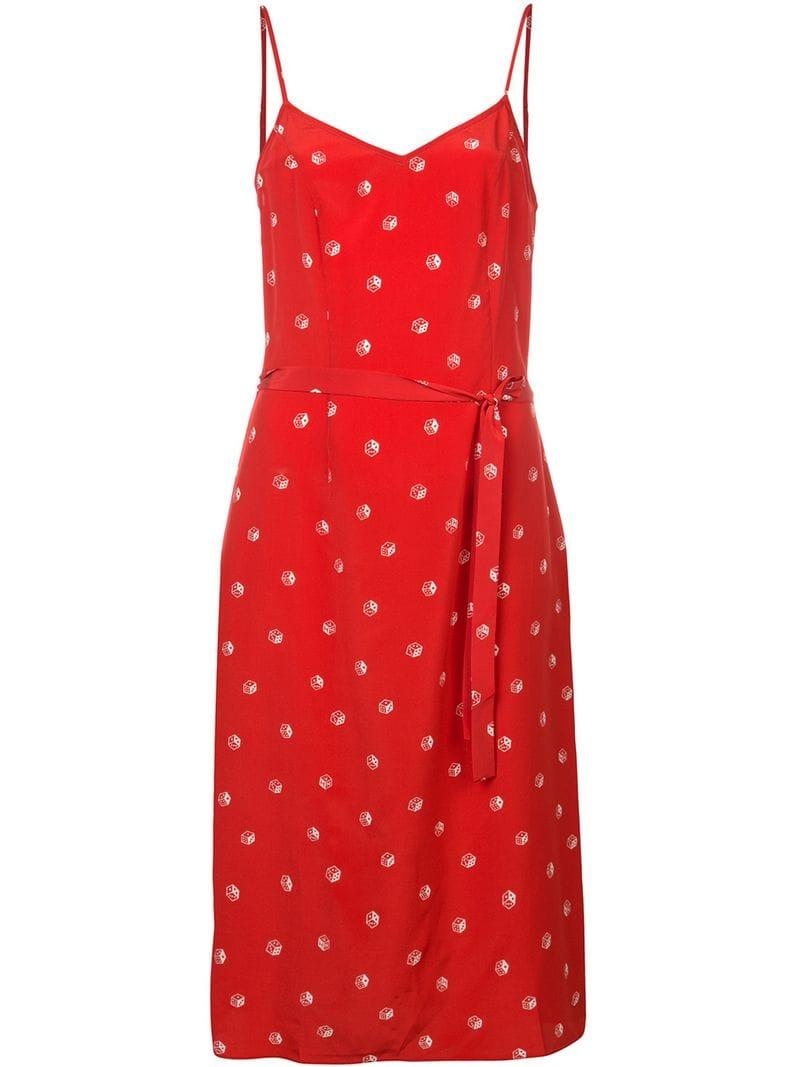 6e0cad8475ba17 Harley Viera-Newton Hvn Dice Print Belted Slip Dress - Farfetch In Red