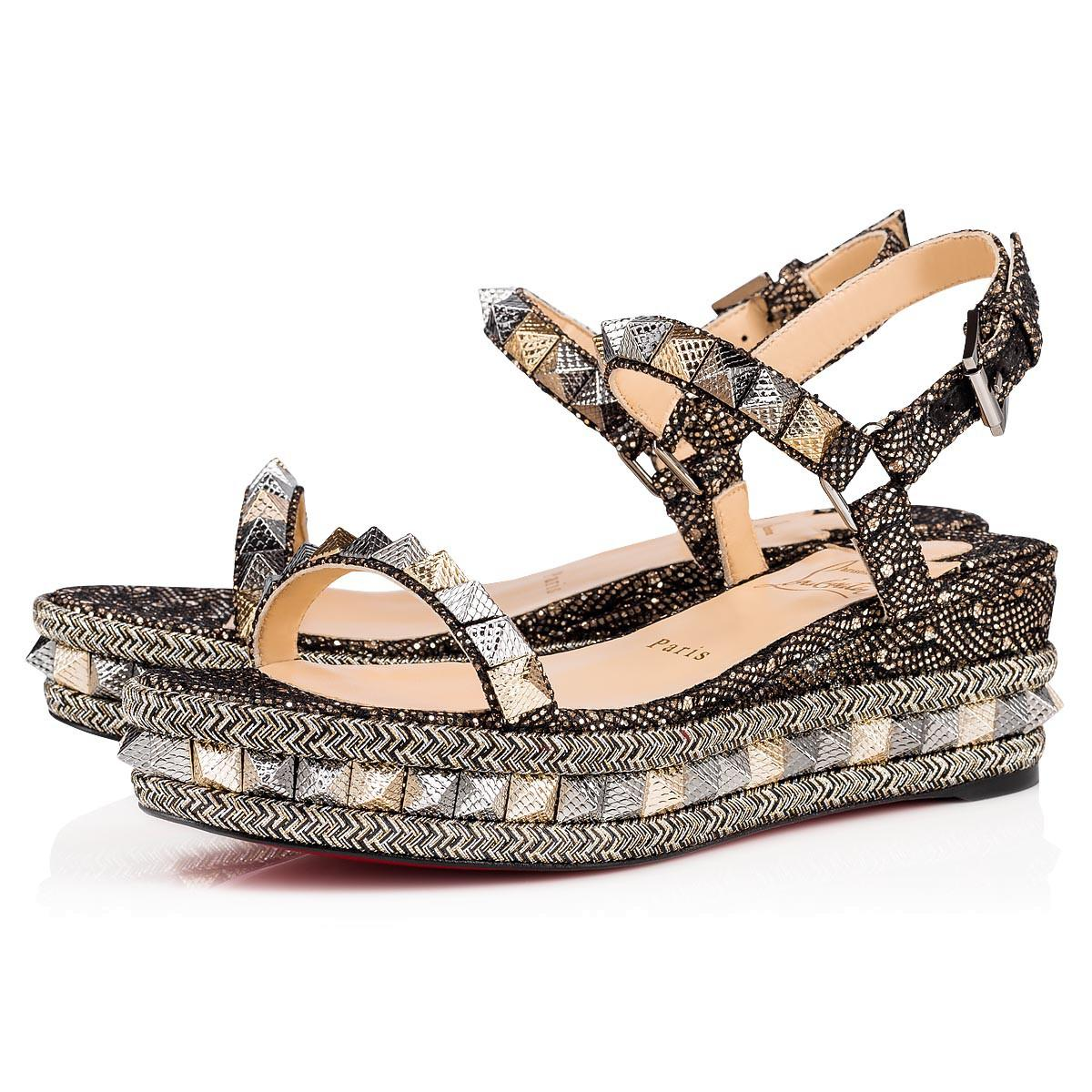 dfc3af6ae1a Pyraclou 60 Leather Flatform Sandals in Black Gold