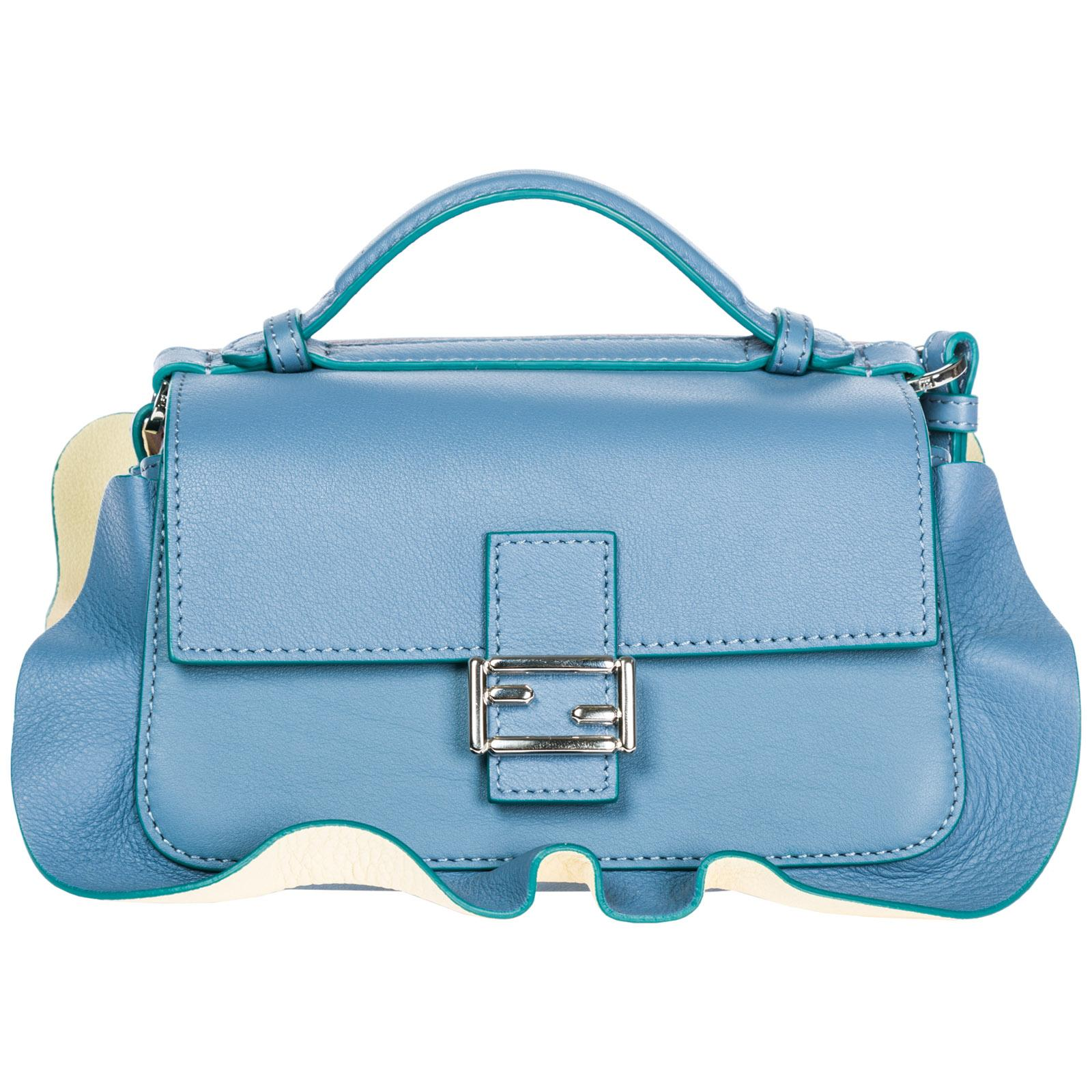 6906e2fdca2b Fendi Women S Leather Shoulder Bag Doppia Micro Baguette In Blue ...