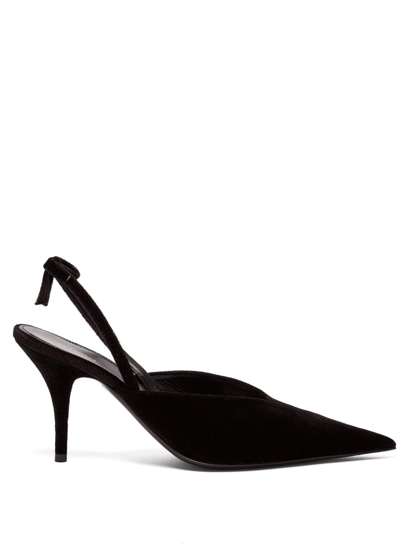 eac1925f4c9 Balenciaga Bow-Embellished Velvet Slingback Pumps In Black