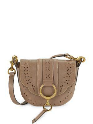 e587aca91a Frye Ilana Small Perforated Leather Saddle Bag In Cement