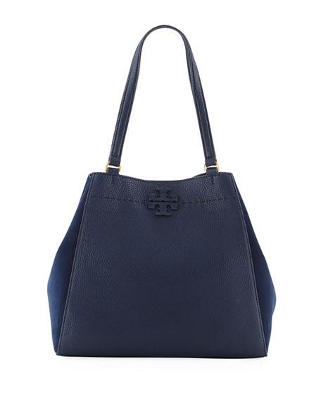 568b9c26335 Tory Burch Mcgraw Leather   Suede Satchel - Blue In Royal Navy ...