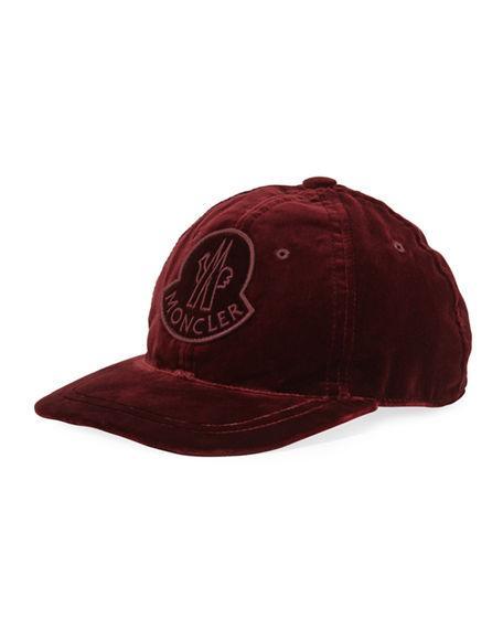 9f810b6e6123cd Moncler Velvet Baseball Cap W/ Logo Patch In Burgundy | ModeSens