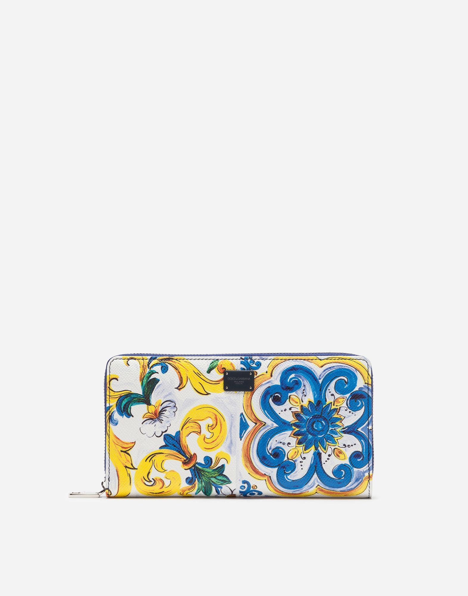 cf2fb87035 Dolce & Gabbana Zip-Around Wallet In Printed Dauphine Calfskin In Majolica  Print