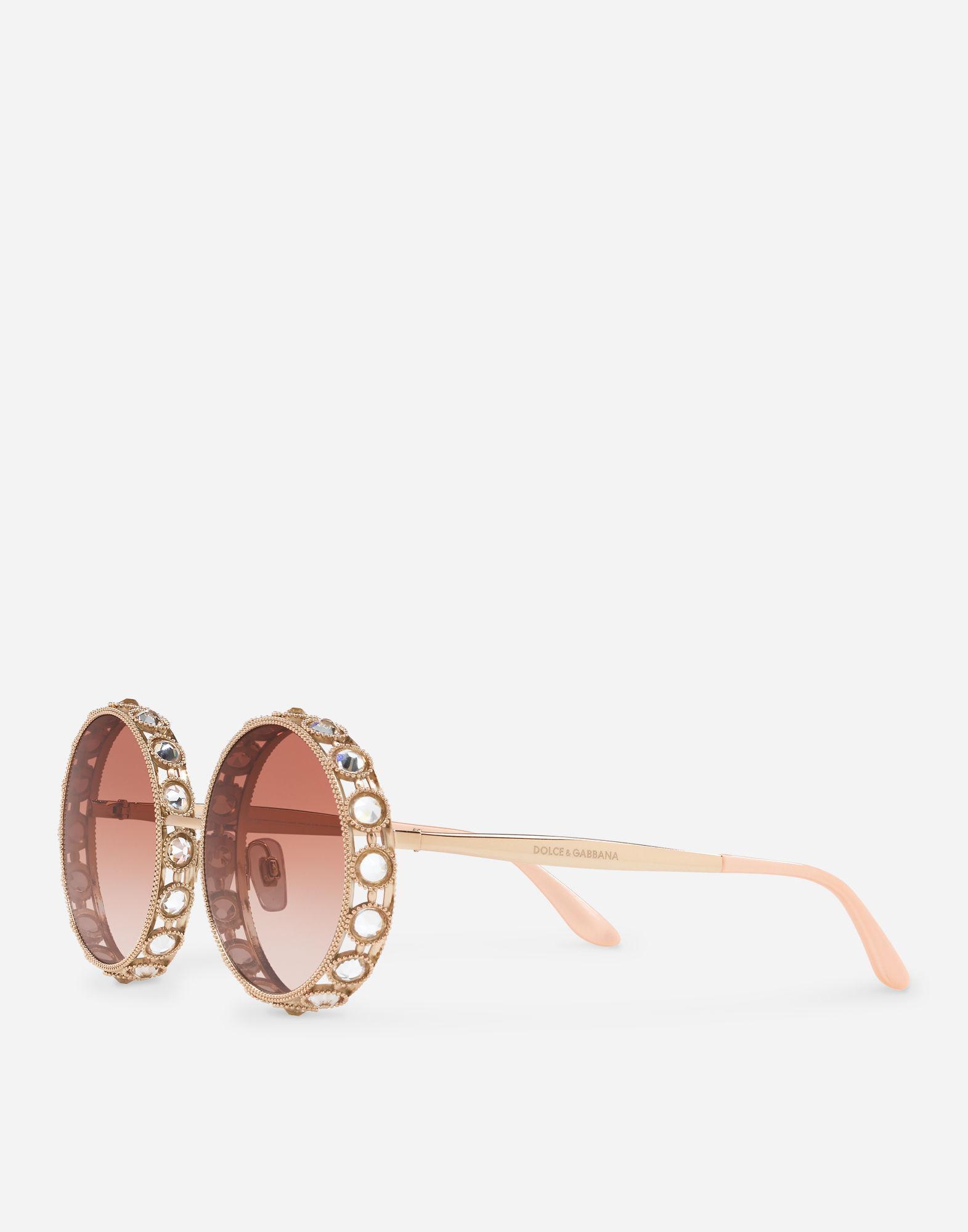 3c4d2f985ca9 Dolce   Gabbana Swarovski Crystal-Embellished Round-Frame Rose Gold-Tone  Sunglasses In