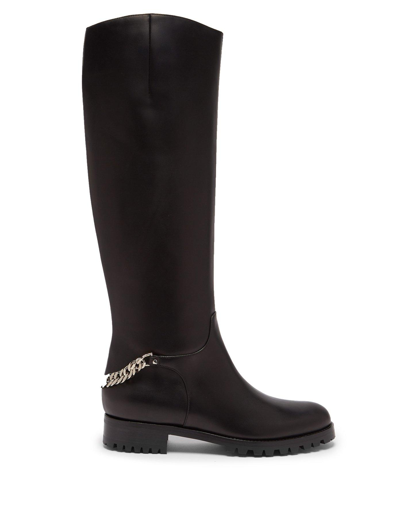 73038ebabc1 Croche Cate Red Sole Knee Boot in Black